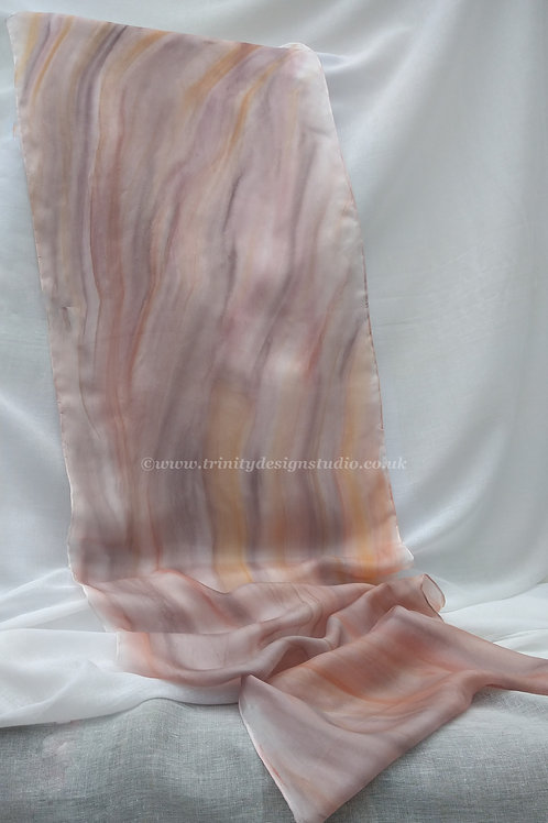 Hand painted brown silk scarf