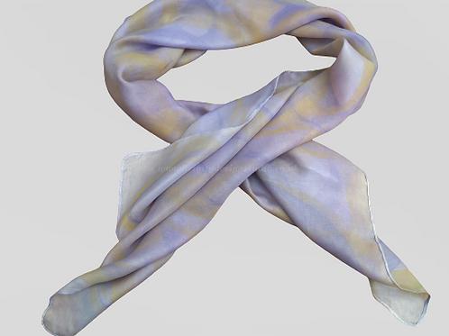 Yellow and purple silk scarf