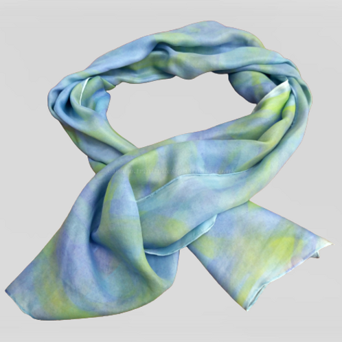 Stunning green and blue silk scarf