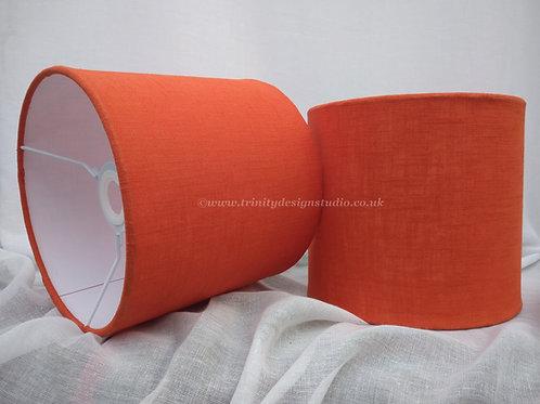 Tangerine linen lampshade