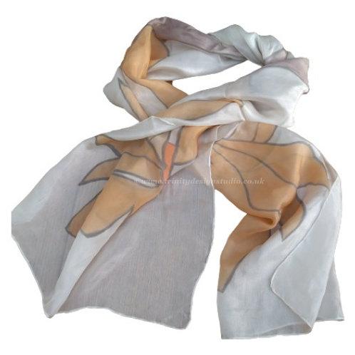 Brown painted flowers scarf