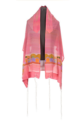 Jerusalem decoration on pink silk tallit, girls tallit