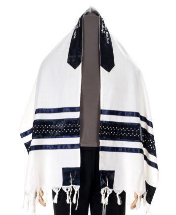 Exclusive Magen David wool Tallit with tallit set, size 60 tallit