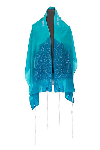 TREE OF LIFE Turquoise Tallit set For Woman
