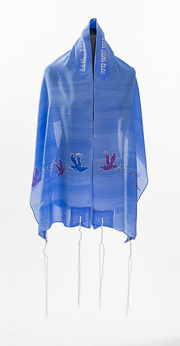 Handmade Lilac Tallit With Doves