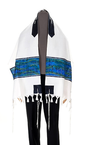 Tallit With Jerusalem Embroided In Silver On Silk