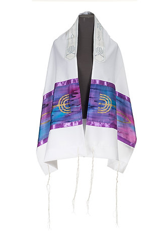 Purple Silk Messianic prayer Shawl Tallit - embroidered neckband (atara)