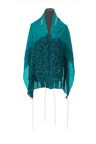 TREE OF LIFE Green silk Tallit set For Woman