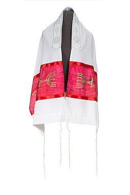 Red Silk Messianic prayer Shawl Tallit - embroidered neckband (atara)