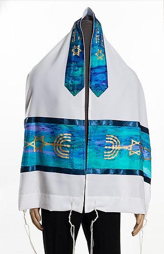 Light Blue Silk Messianic prayer Shawl Tallit - printed silk neckbank (atara)