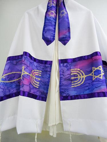 Purple Silk Messianic prayer Shawl Tallit - printed silk neckband (atara)