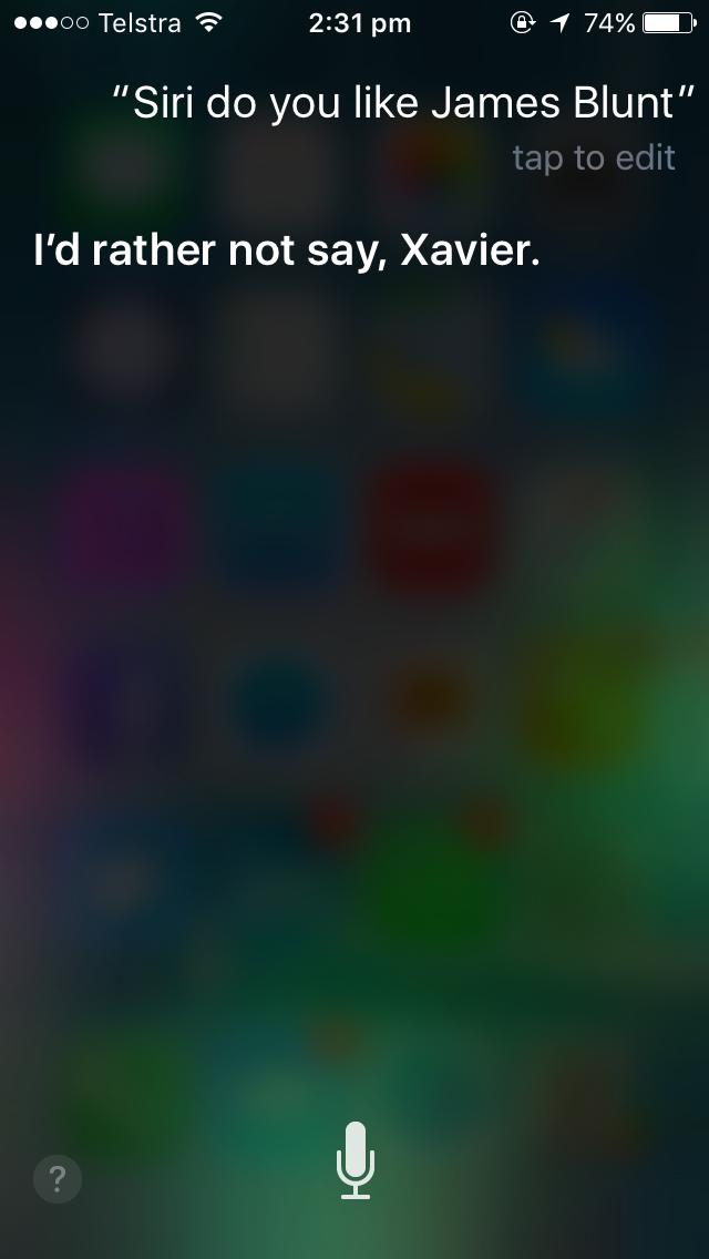 Siri do you like James Blunt? Image Credit: Screenshot, XYZ Media Group