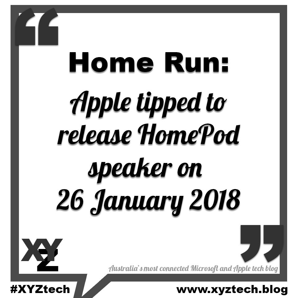 Apple to release HomePod speaker on 26 January 2018