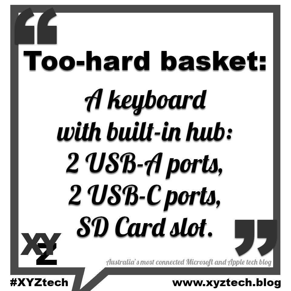A keyboard hub with built-in ports