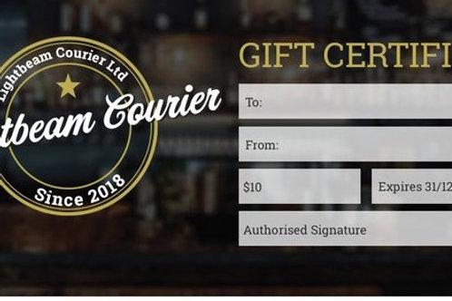 Lightbeam Courier Gift Certificates