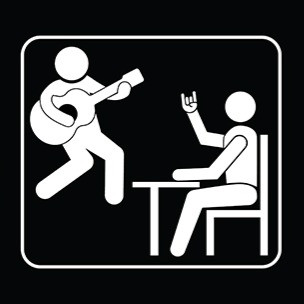 """Logo for """"The Office! A Musical Parody."""" Variation on a typical black-and-white stick-figure office sign, featuring two stick figures absolutely jamming out."""