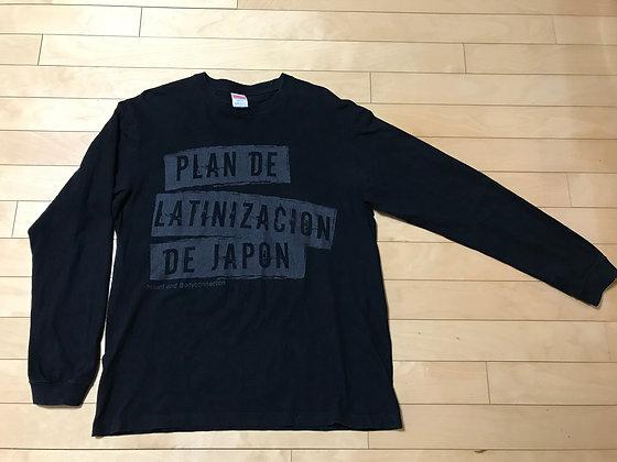 袖リブ長袖Tシャツ:ブラック
