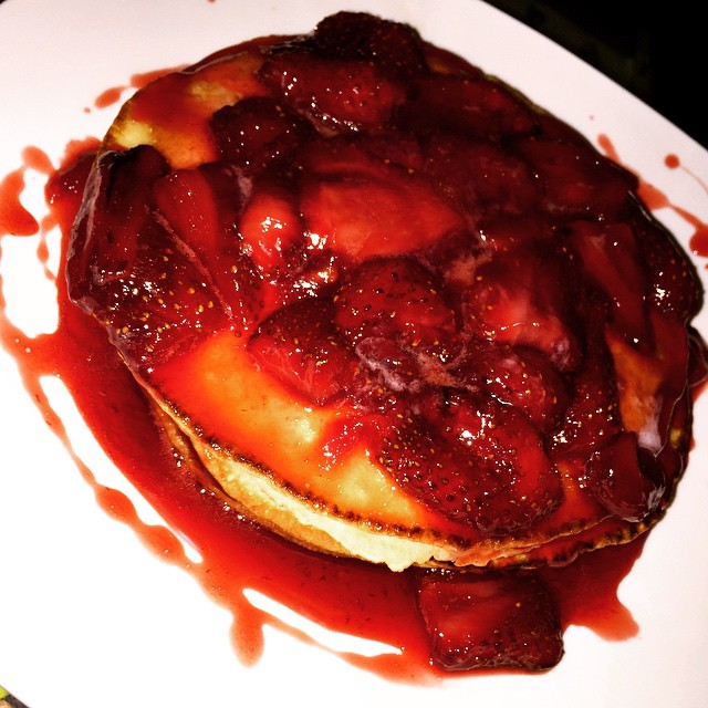 What are you having for breakfast_ Scratch made pancakes with fresh strawberry compote