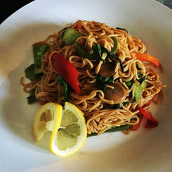 Sweet and spicy Asian veggie style pasta
