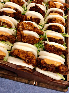 DFC Brioche Sliders Daddy's Fried Chicken With Tamarind, Ginger Lime Green Paw Paw in a Steamed Bao Bun