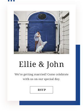 Wedding invite with a photo of a man kissing a woman in white dress in front of blue door with white dog sitting next to them.