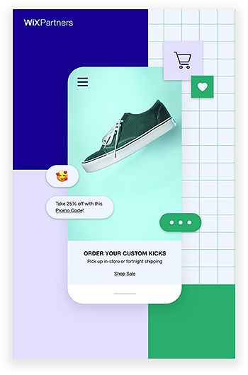 Mobile screen with dark green sneaker surrounded by emojis.