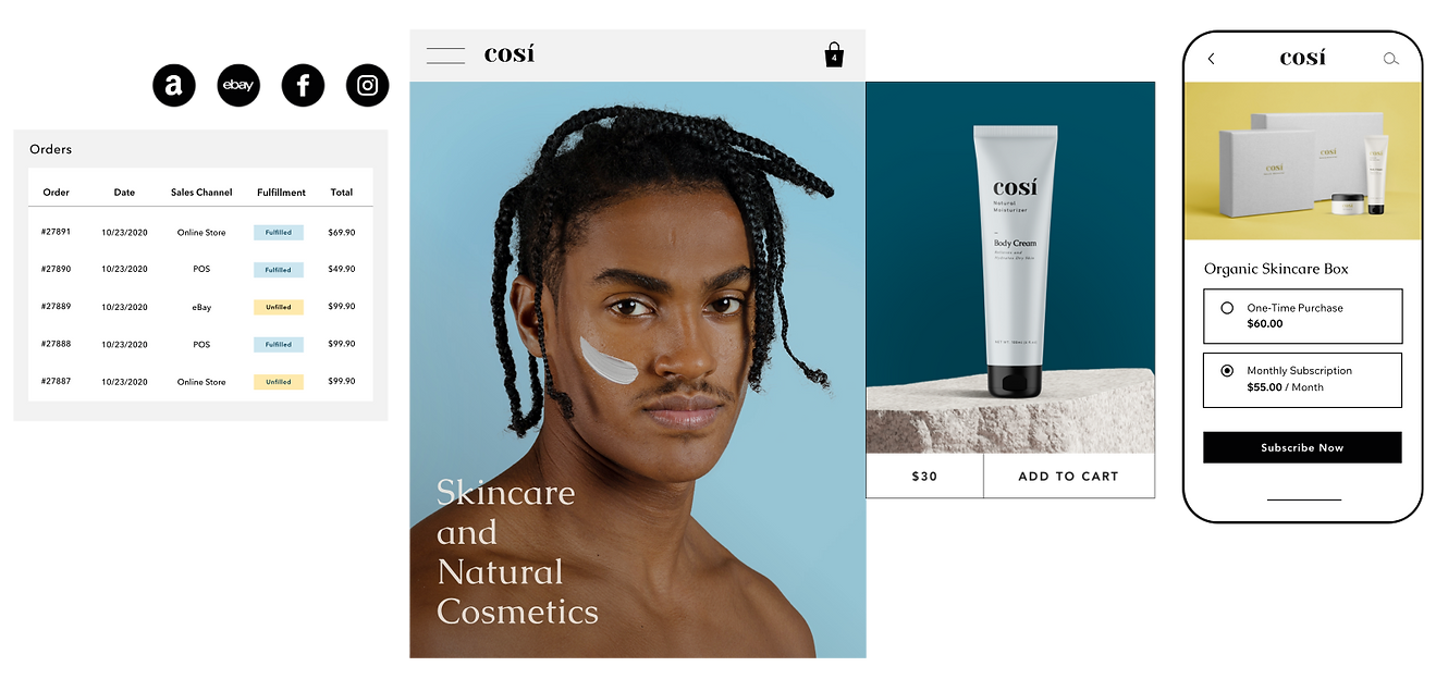 Order fulfillment with multiple sales channels for a natural cosmetics website, and an option to purchase a product subscription on mobile.