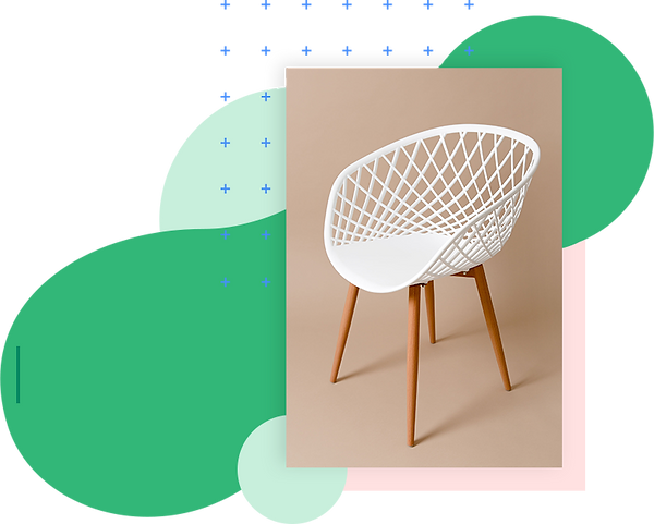 Modern white chair and furniture store name ideas.