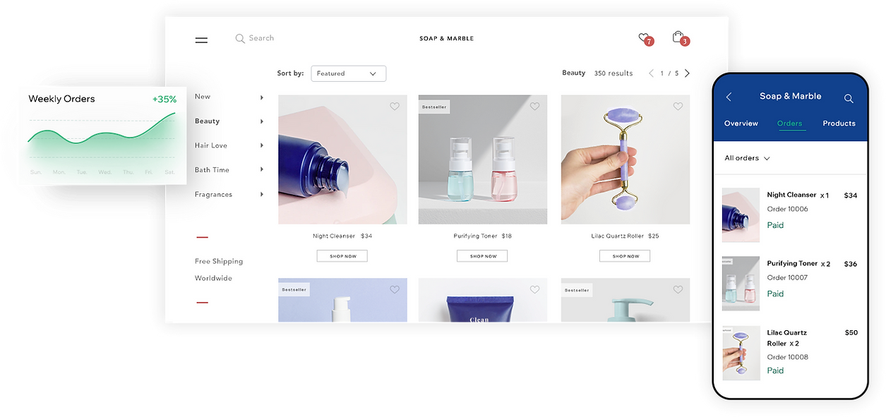 Screenshot of online store product page selling cosmetics