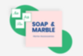 Brand logo design with font suggestions and Soap & Marble business name.