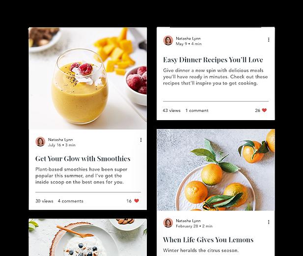 Blog de comida Bloomin Vine com feed do blog e posts.