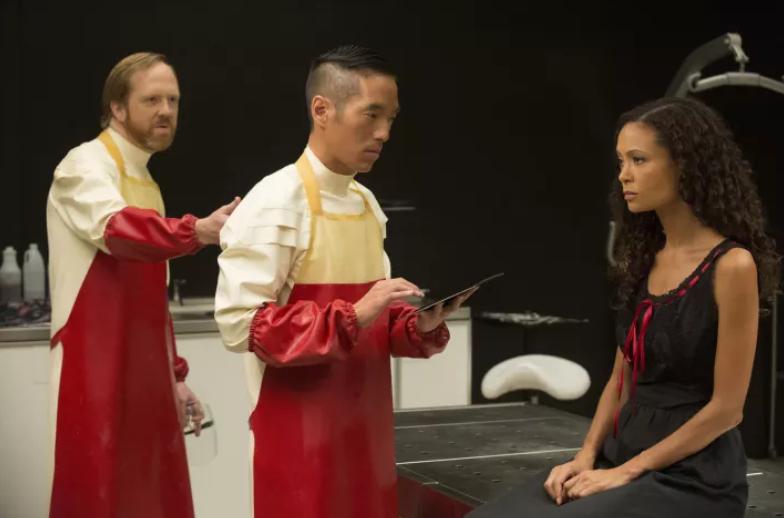 Leonardo Nam (center) with Ptolemy Slocum and Thandie Newton in Westworld - HBO
