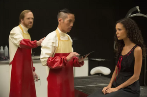 Leonardo Nam (center) with Ptolemy Slocum and Thandie Newton in Westworld - HBO