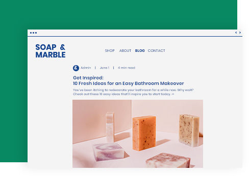 Soap & Marble blog post example showing several handmade soap bars.