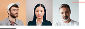 Three profile photos of freelancers on colored backgrounds