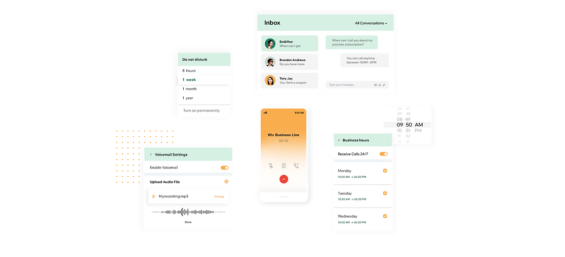 mage that reflects the richness of the features and capabilities of the Business Phone Number: a visual illustration of a phone call, how inbox and contact list are integrated, setting the business call hours, do not disturb and custom voicemail recording.