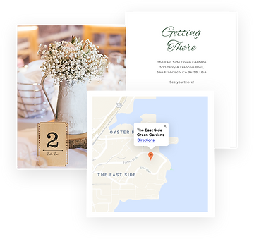 Collage of images with a wedding table, map of wedding location and an event invitation.