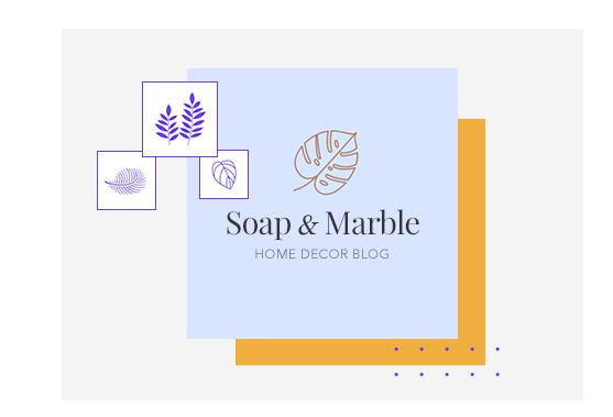 Merklogo met ontwerpsuggesties en blognaam Soap & Marble.