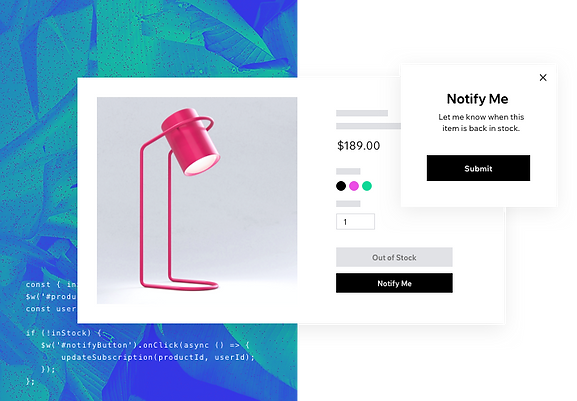 """A screenshot from the Velo platform showing that a product is out of stock, with a pop-up notification titled """"Notify Me"""" when the item is back in stock. The product is a small red smart spotlight lamp."""