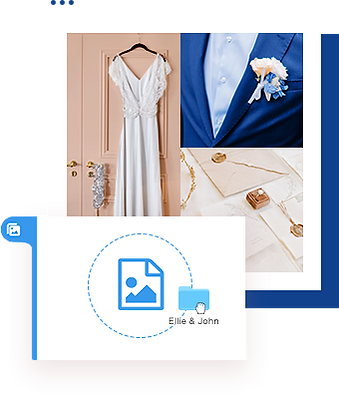 Collage of images with a white wedding dress, a groom in a suite, and wedding invitations.