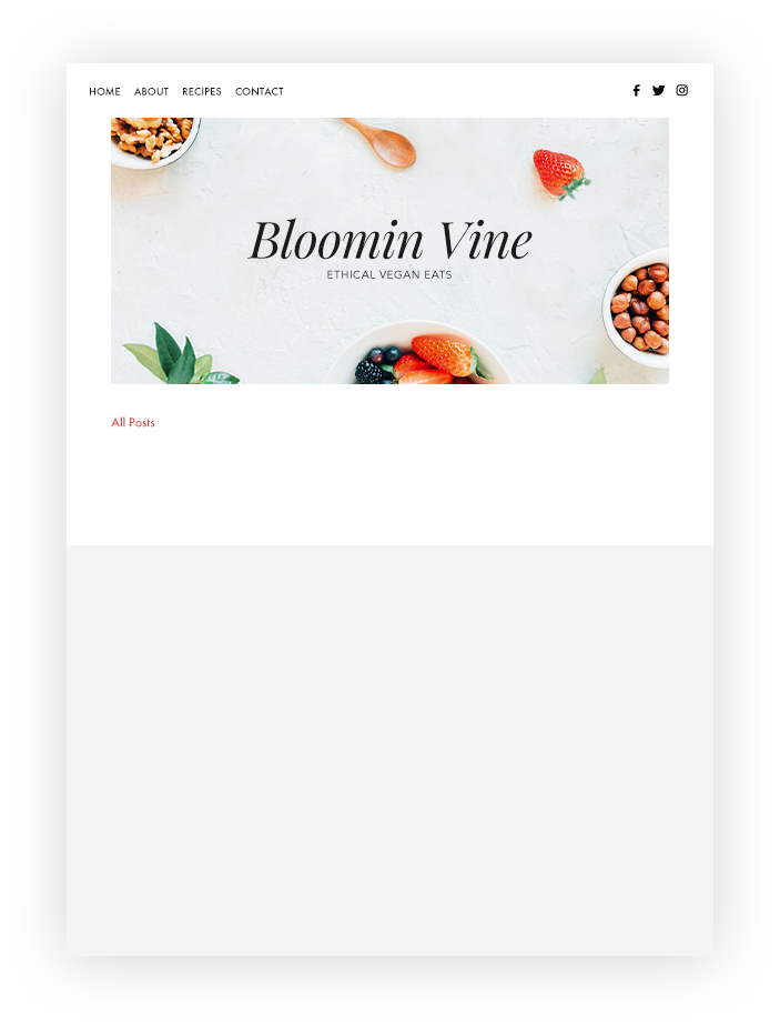 Bloomin Vine food blog with blog feed and posts.