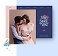 Wedding website with a photo of a man and woman embracing each other.