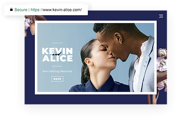 Wedding website homepage with photo of couple kissing.