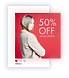 Social media post advertising a promotional offer of 50% off all jackets.