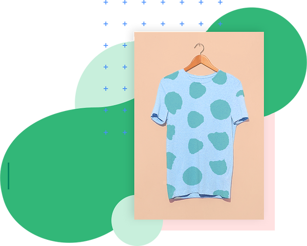 Graphic blue t-shirt with green spots and clothing business name ideas.