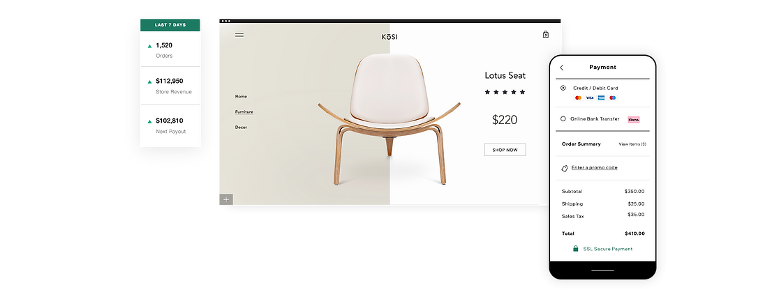 Home decor online storefront with wooden chair, 7-day overview and mobile checkout.