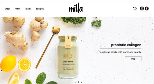 Mila probiotic collagen subscription box website