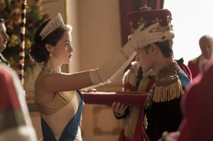 A scene from The Crown with Claire Foy as Queen Elizabeth and Matt Smith as Prince Philip