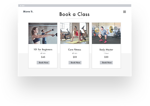 Gym class booking page