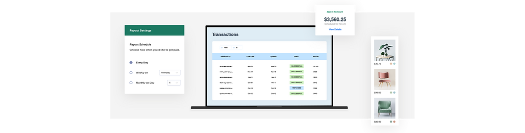 Online store transactions dashboard, custom payout schedule and furniture product gallery.